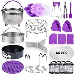 22 Pcs Pressure Cooker Accessories Set Compatible with Instant Pot 5,6,8 Qt, 2 Steamer Baskets,  ...