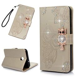 Galaxy J7 V 2nd Gen Case, Glitter Diamonds Owls Totem Wallet Case PU Leather Magnetic Flip Cover ...
