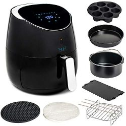 YEDI Total Package Air Fryer (100 Recipes & Deluxe Accessory Kit), 5.8Qt Electric Hot Air Fr ...