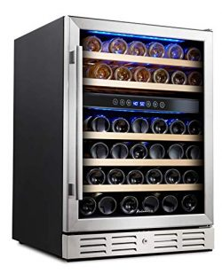 "Kalamera 24"" Wine refrigerator 46 Bottle Dual Zone Built-in and Freestanding with Stainles ..."