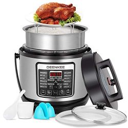 DEENKEE 6 Quart Multi Pot Pressure Cooker 10-in-1 Instant Programmable, Slow Cook, Saute, Egg, R ...