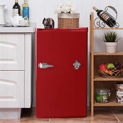 3.2 CU. FT Compact Refrigerator with Bottle Opener MIni Fridge Chiller and Freezer Compartment w ...