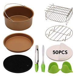 8 Inch XL Air Fryer Accessories 59 Pcs For Gowise Phillips Cozyna Ninja Deep Fryer Accessories S ...