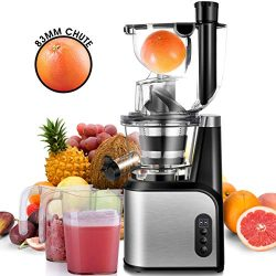Slow Masticating Juicer Extractor, CUSIBOX 83mm (3.27inch) Wide Chute Cold Press Juicer with Qui ...