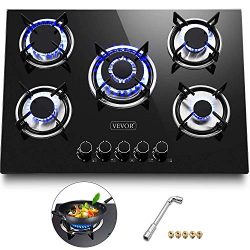 Happybuy 30″x20″ Built-in Gas Cooktop 5 Burners LPG/NG Gas Stove Cooktop Tempered Gl ...