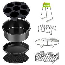 Air Fryer Accessories Set for 3.7, 5.3, 5.5, 5.8 QT,8 pieces for Gowise Phillips and Cozyna Air  ...