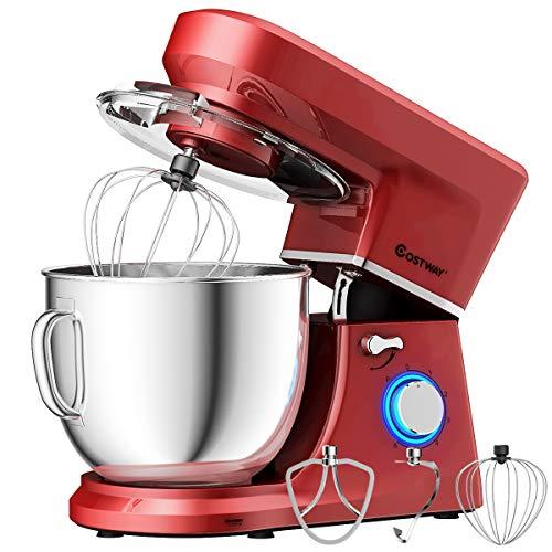 COSTWAY Stand Mixer, 660W Tilt-head Electric Kitchen Food Mixer with 6-Speed Control, 7.5-Quart  ...