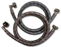 Premium Stainless Steel Washing Machine Hoses with 90 Degree Elbow, 12 Ft Burst Proof (2 Pack) R ...