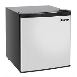 ROVSUN 1.1 CU FT Upright Freezer with Reversible Stainless Steel Single Door, Removable Shelves