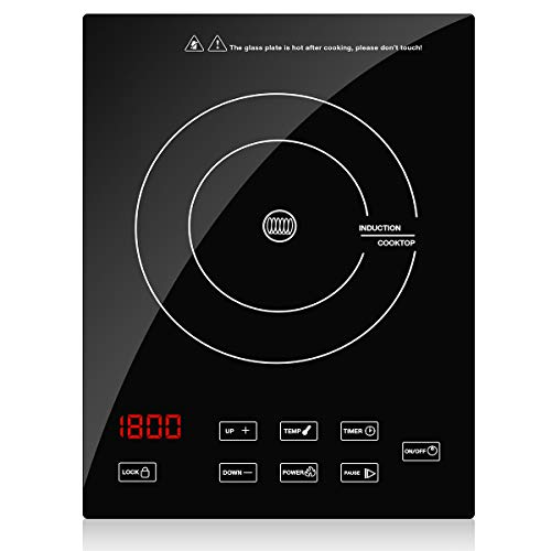 Portable Induction Cooktop Countertop Burner, CUSINAID 1800W Sensor Touch Electric Induction Coo ...