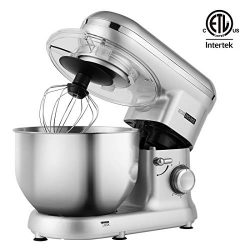 VIVOHOME Electric 650W 6-Speed Tilt-Head Stand Mixer with 6 Quart Stainless Bowl Silver ETL Listed