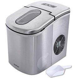 Northair Stainless Steel Ice Maker Machine Counter Top with 26lbs Daily Capacity, 9 Bullet Ice C ...