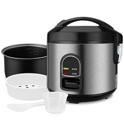 Electric Rice Cooker Food Steamer – Small 10 Cup Cooked Mini Rice Maker with Removable Non ...