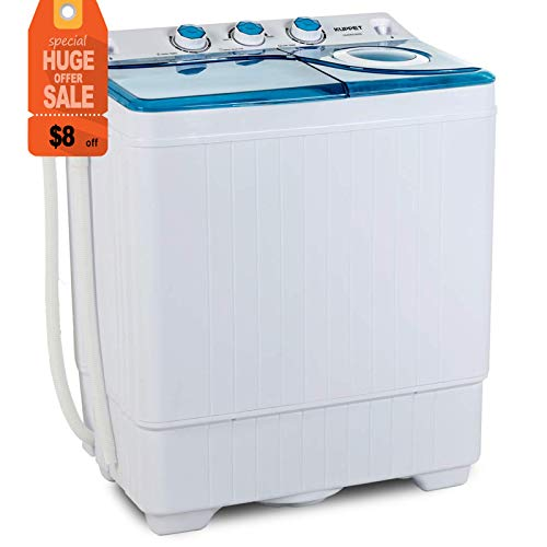 KUPPET Compact Twin Tub Portable Mini Washing Machine 26lbs Capacity, Washer(18lbs)&Spiner(8 ...