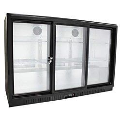 54″ Wide Sliding 3 Door Back Bar Beverage Cooler, Counter Height Refrigerator with Glass Doors