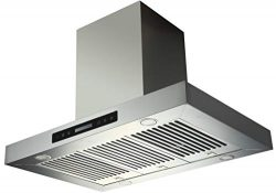 EKON NAIS02-36″ Island Mount Kitchen Range Hood / 2 Pcs 4 Speeds Touch Control LCD Display ...