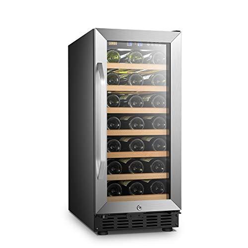 LANBO Compact Wine Cellar Refrigerator, 33 Bottles Under Counter Compressor Wine Cooler, Black a ...