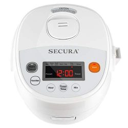 Secura SRC-08DW 7 in 1 Multi-Use Programmable Small Rice Cooker w/Advanced Fuzzy Logic Control,  ...