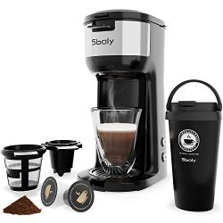 Single Serve K Cup Coffee Maker for K-Cup Pods And Ground Coffee,Thermal Drip Instant Coffee Mac ...