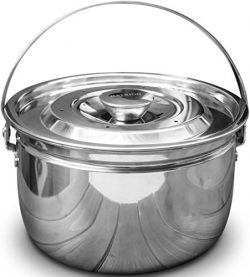 Hatrigo Multi-Purpose High-Wall Stackable Steamer Insert Pans for Pot in Pot with Handle Lid, Co ...