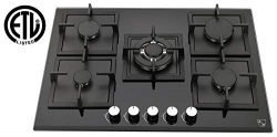 K&H 5 Burner 30″ NATURAL Gas Glass Cooktop 5-GCW