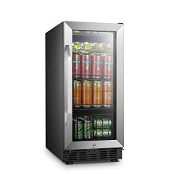 LANBO Compact Beverage Refrigerator, 70 Cans Small Compressor Beverage Cooler with Stainless Ste ...