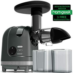 Homgeek Juicer Machine, Slow Masticating Juicer Extractor, 2 Filters, Quiet Motor & Reverse  ...