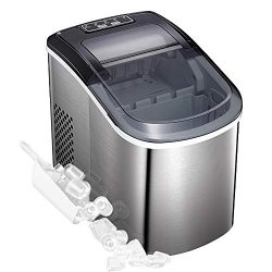 Tavata Portable Automatic Stainless Steel Ice Maker Machine for Countertop, 9 Ice Cubes Ready in ...