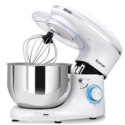 COSTWAY Stand Mixer, 6.3-Qt 660W 6-Speed Electric Mixer with Stainless Steel Bowl, Tilt-Head Foo ...