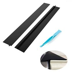 Lengthened 25 Inch Kitchen Silicone Stove Counter Gap Cover, Set of 2 Black,Easy Clean Heat Resi ...