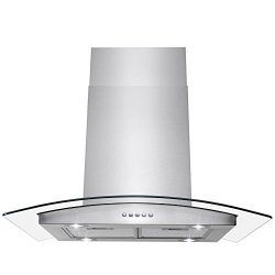 AKDY Island Mount Range Hood -36″ Stainless-Steel Hood Fan for Kitchen – 3-Speed Pro ...