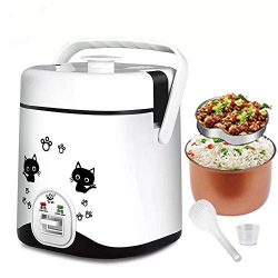 1.2L Mini Rice Cooker, Electric Travel Rice Cooker Small, Electric Lunch Box – Keep Warm F ...