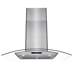 AKDY 36″ Wall Mount Stainless Steel Glass Range Hood Touch Panel Control Baffle Filter