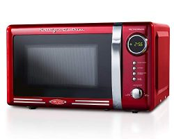 Nostalgia RMO7RR Retro 0.7 cu ft 700-Watt Countertop Microwave Oven, 12 Pre Programmed Cooking S ...
