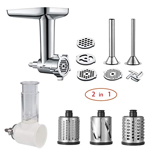 2 in 1 -Food Grinder & Slicer Shredder Attachment Pack for KitchenAid Stand mixer, with Saus ...