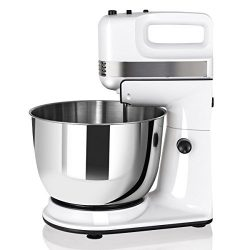 COSTWAY Stand Mixer, 200W Stand Mixer with 5-Speed Control Hand Mixer with Stainless Steel Mixin ...