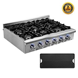 "Thor Kitchen Pro-Style 36"" Gas Rangetop with 6 Sealed Burners, Flat Cast-Iron Grates, Cast ..."