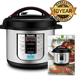 Becooker Programmable Electric Pressure Cooker , 8 Qt 5-in-1 multi cooker , Stainless Steel Pot, ...