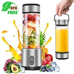 Portable Blender, G-TING Personal Smoothies Blender Cordless, Rechargeable USB Small Mini Blende ...