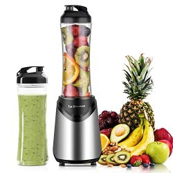 Smoothies Blender 300 Watt with 2 Pieces 18 oz BPA Free Portable Travel Sports Bottles (Silver 2 ...