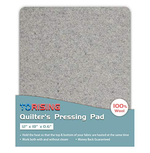 Quilter's Pressing Pad Mat- 12″x18″x0.6″ 100% Wool for Professional Iron ...