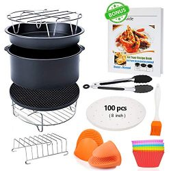 FDA 8 inch XL Air Fryer Accessories 11 pcs with Recipe Cookbook Compatible for Gowise USA COSORI ...