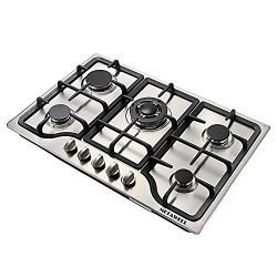 METAWELL 30″ Stainless Steel 5 Burner Built-in Stoves NG Gas Hob Cooktops Cooker