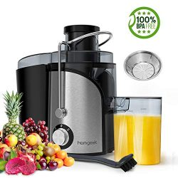 Homgeek Juicer, Juicer Extractor with Wide Mouth, Centrifugal Juicer with Dual Speed and Anti-Sh ...
