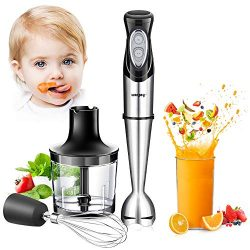 Immersion Hand Blender, 4-in-1 Multifunctional Handheld Blender with Ballon Whisk,20oz Chopper B ...