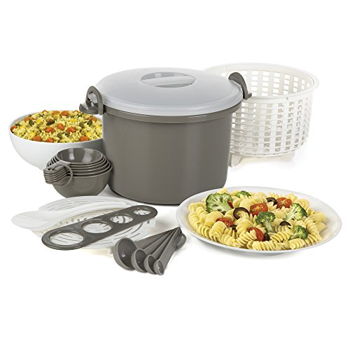 Prep Solutions by Progressive Microwaveable Rice and Pasta Cooker-16 Piece Set Includes Measurin ...