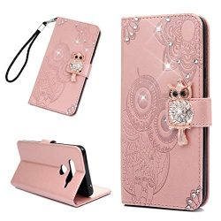 LG V40 ThinQ Case Sparkle Glitter Diamonds Owls Totem Wallet Case PU Leather Magnetic Flip Cover ...