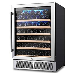 AMZCHEF 24″ Wine Cooler, Wine Refrigerator Built-in or Freestanding 52 Bottle, Quiet, Cons ...
