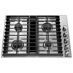 KitchenAid KCGD500GSS 30″ 4 Burner Stainless Steel Gas Downdraft Cooktop