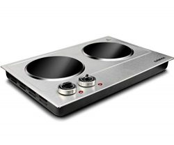 Cusimax 1800W Ceramic Electric Hot Plate for Cooking, Dual Control Infrared Cooktop, Portable Co ...